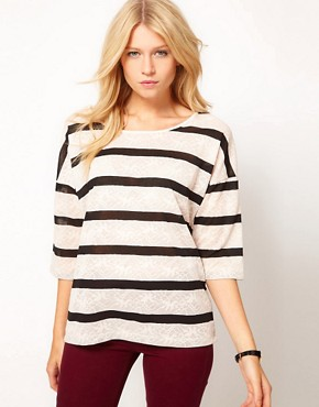 Image 1 ofOasis Long Sleeve Lace Stripe T-Shirt