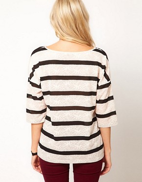 Image 2 ofOasis Long Sleeve Lace Stripe T-Shirt