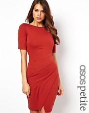 ASOS PETITE Exclusive Dress With Gathered Side And V Back