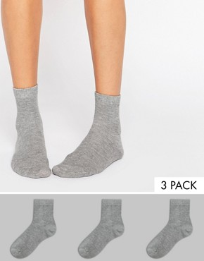 ASOS 3 Pack Ankle Socks Grey
