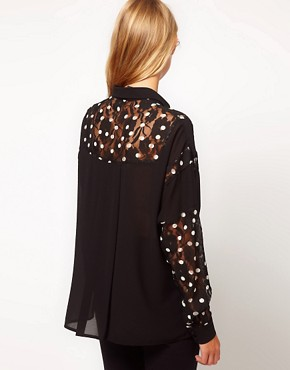 Image 2 ofASOS Shirt With Spot Printed Lace Panels
