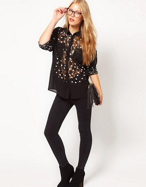 Image 4 ofASOS Shirt With Spot Printed Lace Panels