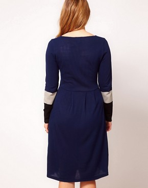 Image 2 ofASOS CURVE Knitted Dress With Colour Block Sleeve