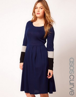 Image 1 ofASOS CURVE Knitted Dress With Colour Block Sleeve