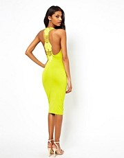 ASOS Midi Bodycon With Lace Trim Back