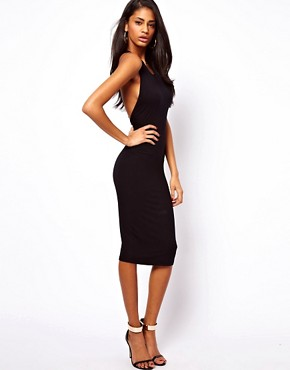 Image 2 ofASOS Midi Bodycon With Lace Trim Back