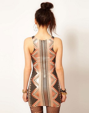 Image 2 ofReverse High Neck Aztec Bodycon Dress