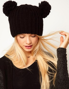 Image 1 ofASOS Rib 2 Pom Beanie