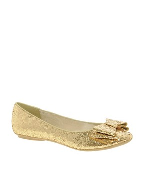 Image 1 ofFaith Azriel Gold Glitter Bow Flat Shoes