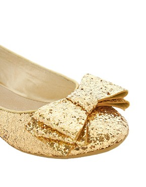 Image 2 ofFaith Azriel Gold Glitter Bow Flat Shoes
