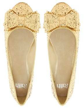 Image 3 ofFaith Azriel Gold Glitter Bow Flat Shoes