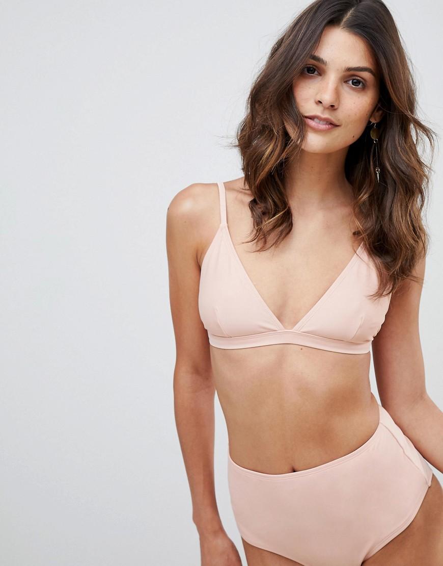 Imagen principal de producto de Braguitas de bikini de tiro alto en rosa claro de Warehouse - Warehouse
