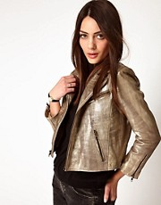 Ganni Leather Biker Jacket in Gold