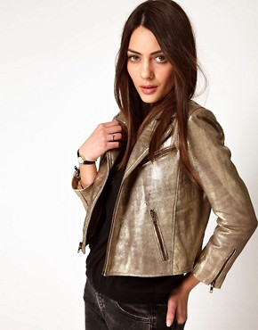 Image 1 ofGanni Leather Biker Jacket in Gold