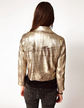 Image 2 ofGanni Leather Biker Jacket in Gold