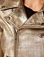 Image 3 ofGanni Leather Biker Jacket in Gold