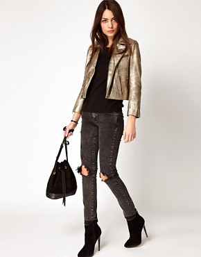 Image 4 ofGanni Leather Biker Jacket in Gold