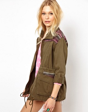 Image 1 ofRiver Island Jacquard Detail Army Jacket