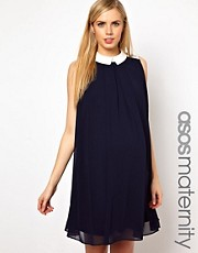 ASOS Maternity Contrast Pleated Shirt Dress