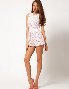 Image 4 ofASOS Playsuit In Broderie Anglaise