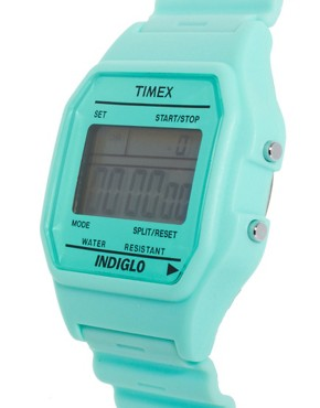 Bild 4 von Timex  80  Pastellblaue Armbanduhr mit Dornschliee