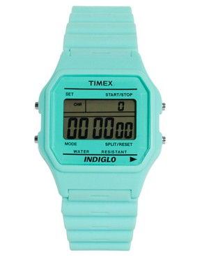 Bild 1 von Timex  80  Pastellblaue Armbanduhr mit Dornschliee