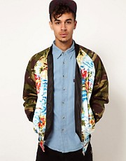 Reclaimed Vintage Varsity Jacket with Hawaiian &amp; Camo Print