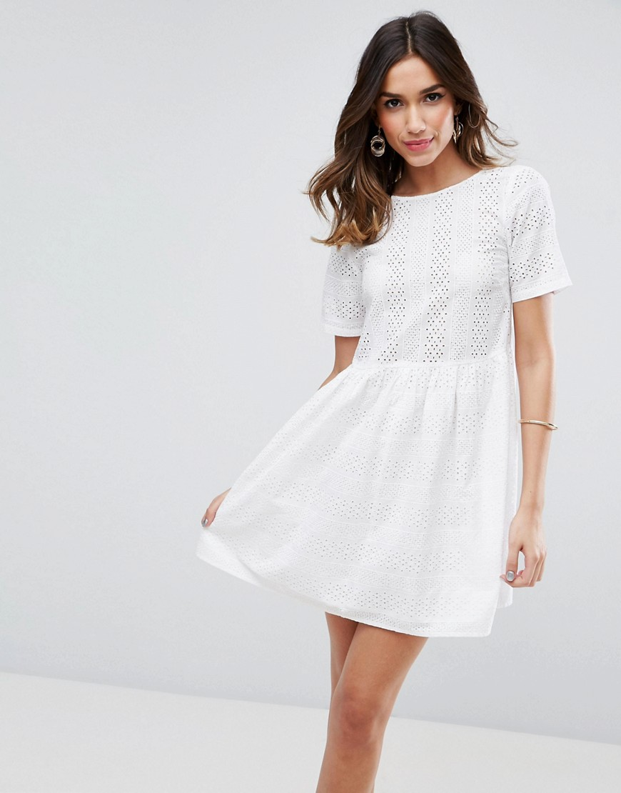 ASOS Smock Dress in Lace - White