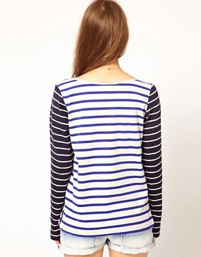 Image 2 ofMaison Scotch Bretton T-Shirt with Contrast Sleeve