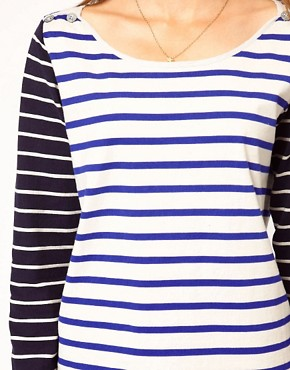 Image 3 ofMaison Scotch Bretton T-Shirt with Contrast Sleeve