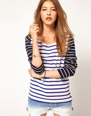 Image 1 ofMaison Scotch Bretton T-Shirt with Contrast Sleeve