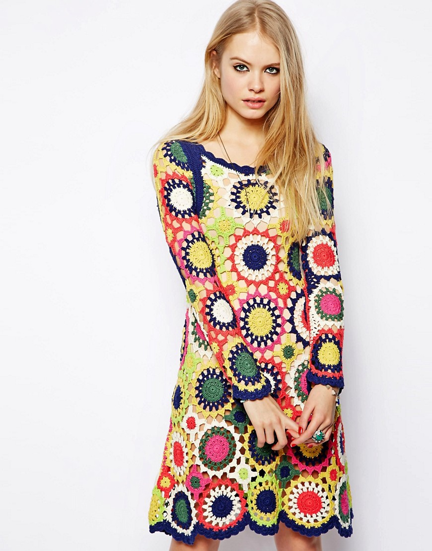 Image 2 of ASOS Dress in Multi Colour Crochet