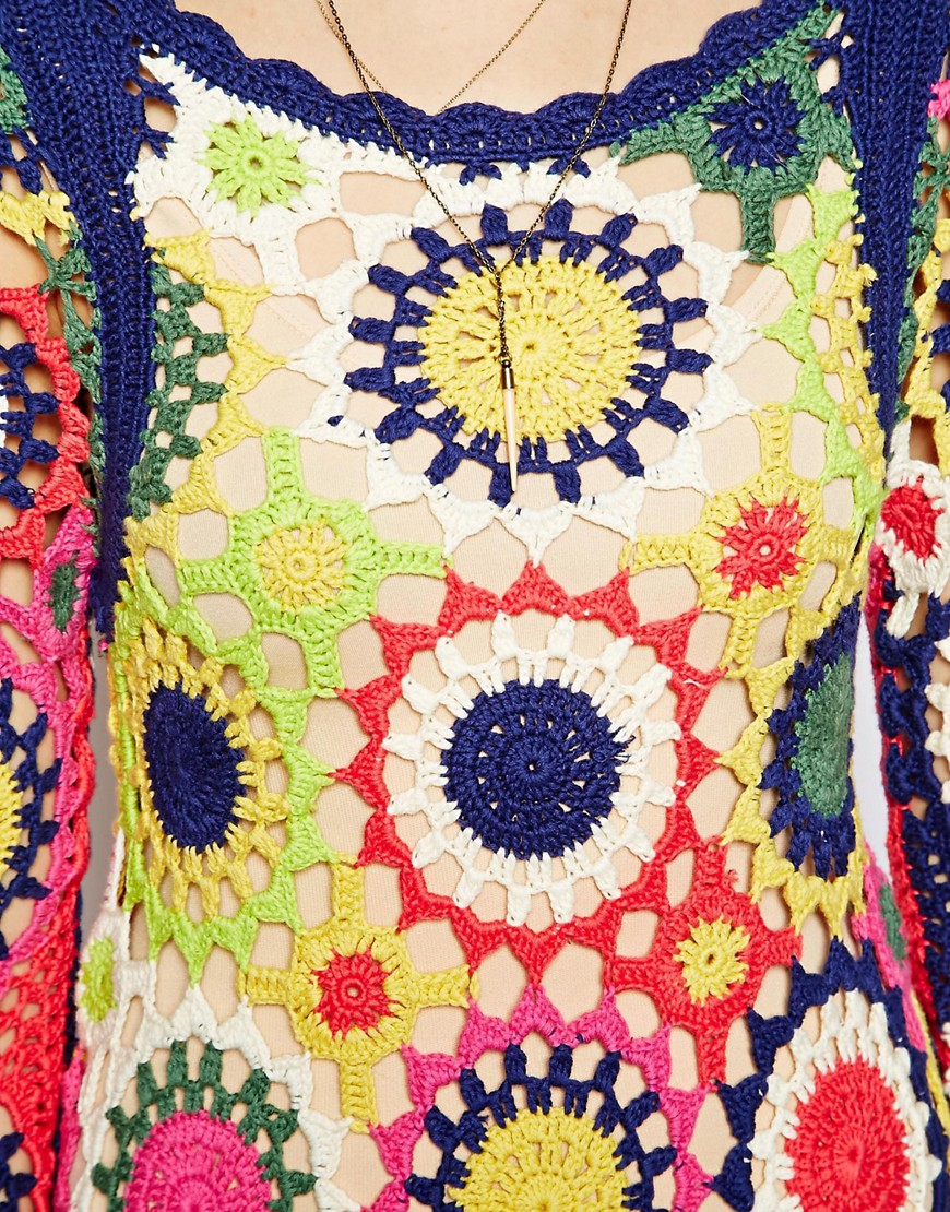 Image 4 of ASOS Dress in Multi Colour Crochet