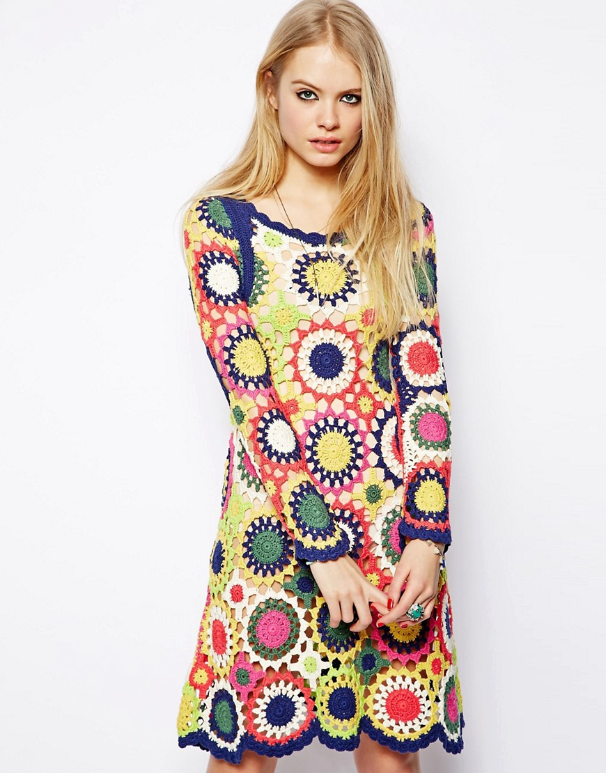 Image 1 of ASOS Dress in Multi Colour Crochet