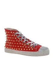 Gienchi Canvas Studded Red High Top Trainers