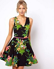 Oasis Floral Print Fit And Flare Dress