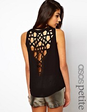 ASOS PETITE Exclusive Vest With Lasercut Dipped Back