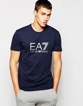 EA7 T-Shirt with Large Logo Print