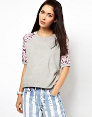 Lulu &amp; Co Raglan Sweatshirt with Owl Print Sleeves