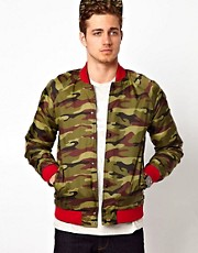 ASOS Reversible Bomber Jacket With Camo Print