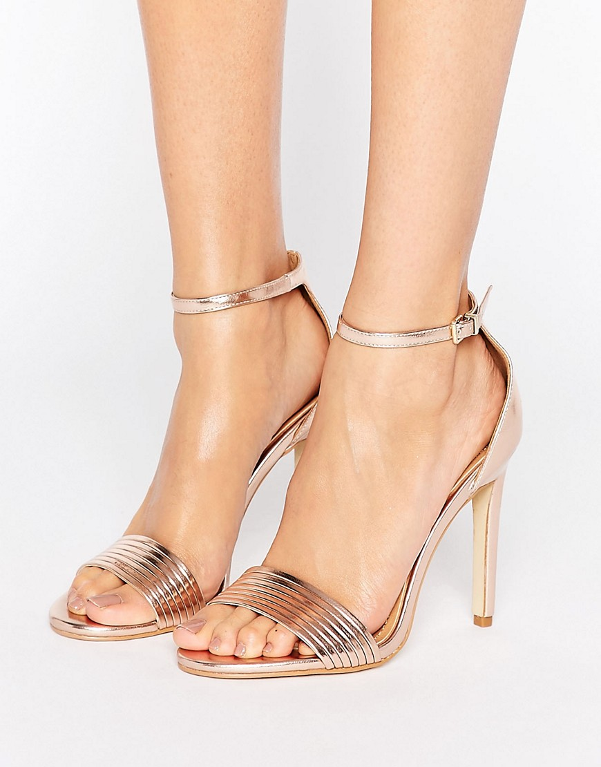 Public Desire Lily Rose Gold Barely There Heeled Sandals - Gold