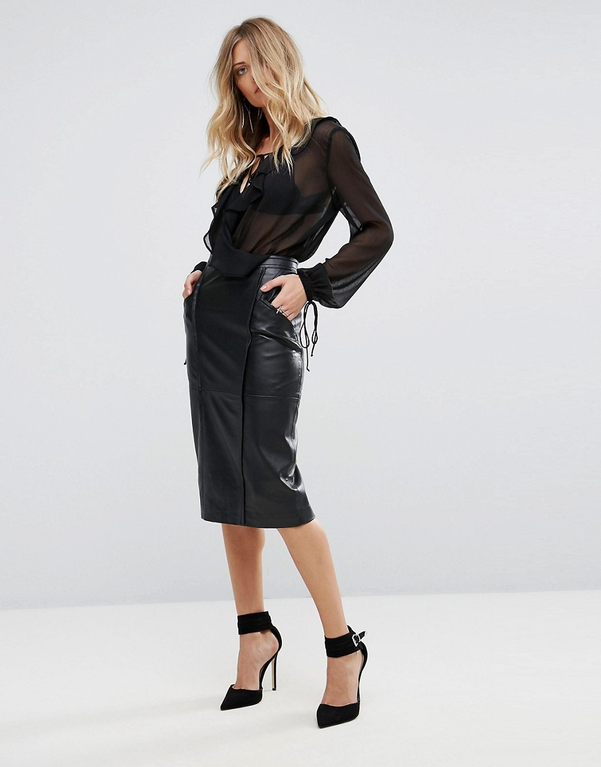 Y.A.S Vally Leather Skirt - Black