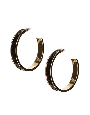Image 1 ofTalullah Tu Black Glitter Hoop Earrings