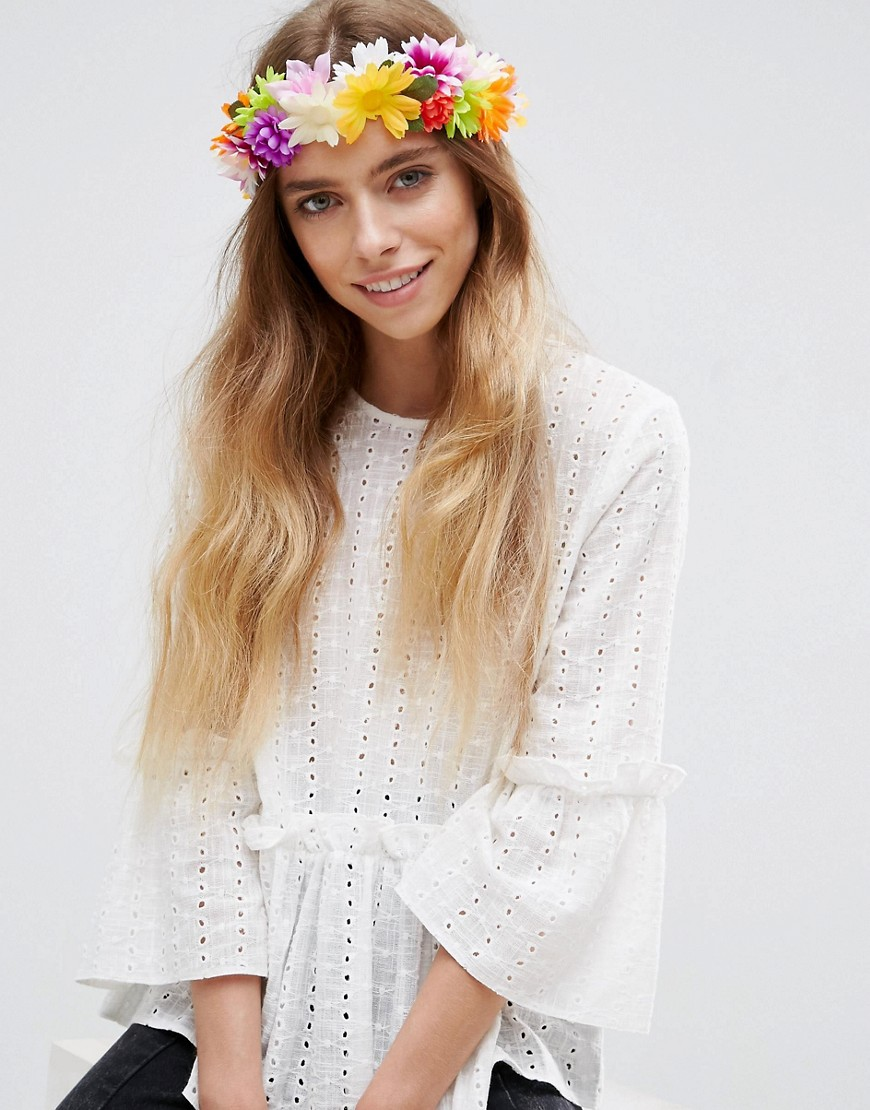 ASOS Festival Rainbow Flower Headband - Multi