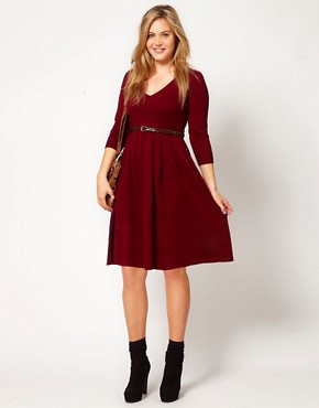 Image 4 ofASOS CURVE Exclusive Knitted Dress With Zip Back