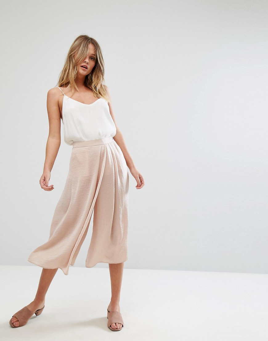 ASOS Wide Leg Cullote with Wrap Front in Satin - Dusty pink