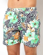 Scotch &amp; Soda Hibiscus Zebra Print Swim Shorts