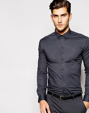 ASOS Skinny Fit Shirt In Grey With Long Sleeves