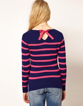 Image 2 ofA Wear Stripe Jumper With Tie Neck