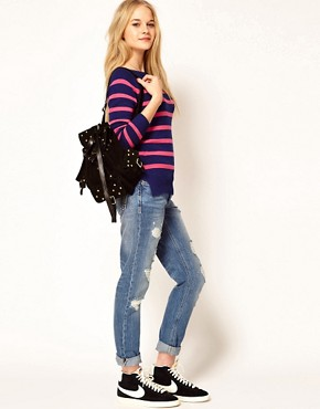 Image 4 ofA Wear Stripe Jumper With Tie Neck